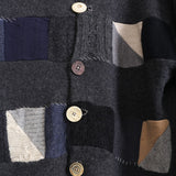 GEOFFREY B. SMALL FRONT PATCHWORK LANA CARDIGAN WITH DIFFERENT BUTTON DETAILS