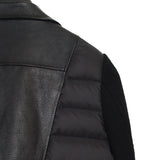 UNDERCOVER 15AW WOOL KNIT AND LEATHER MIXED BACK PADDED WOMEN BIKER COAT