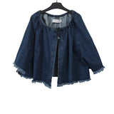 MARQUES ' ALMEIDA GATHERED NECKLINE RAW EDGE DENIM JACKET