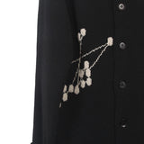 YOHJI YAMAMOTO 14AW  WOOL JOIN THE DOTS ROLL NECK BUTTON DOWN CARDIGAN