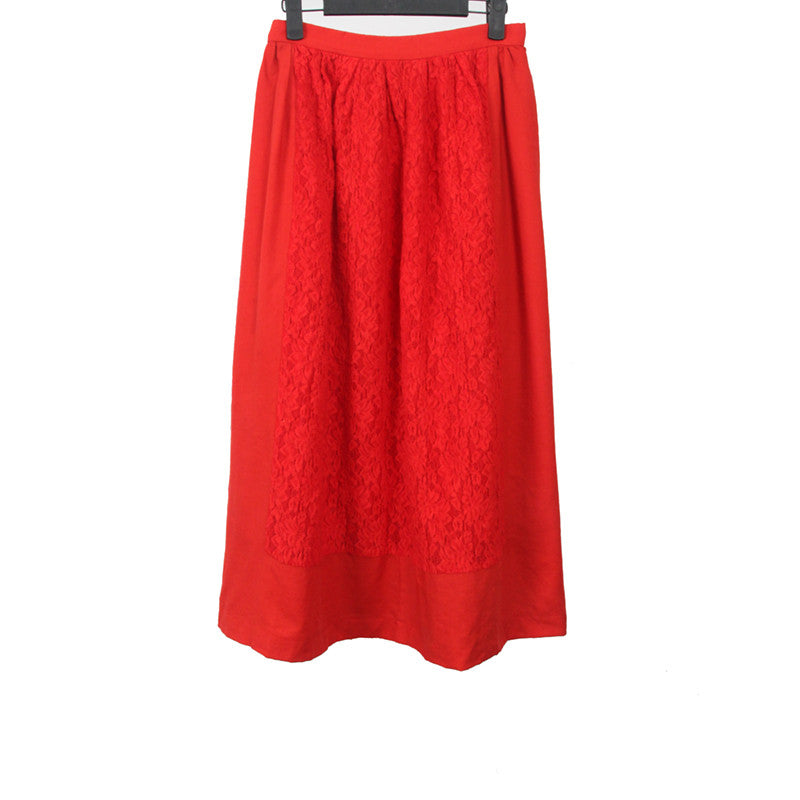 TRICOT COMME DES GARCONS 02SS FLOWER EMBROIDERED LONG SKIRT WITH SIDE ZIP