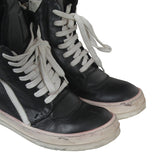RICK OWENS COW LEATHER GEOBASKET HIGH TOP SNEAKERS