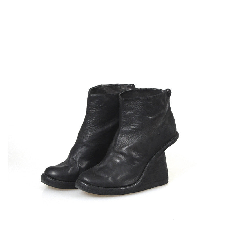 GUIDI 6006 HORSE LEATHER STACKED WEDGE BOOTS