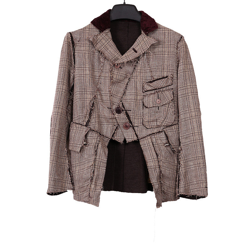 THE SOLOIST BY TAKAHIRO MIYASHITA SILK BLEND LAYERED HORSE RIDING JACKET  WITH SHINY LINING