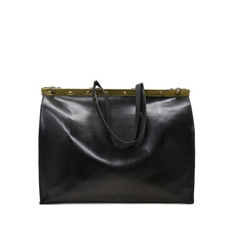 CHEREVICHKIOTVICHKI BLACK LARGE BAG WITH FRAME IN HORSE LEATHER