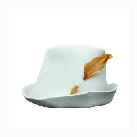 "REINHARD PLANK LIGHT GREY ""ARTISTA"" HAT WITH BROWN FEATHER"