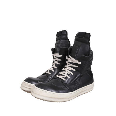 RICK OWENS GEOBASKET HIGH-TOP LEATHER SNEAKERS