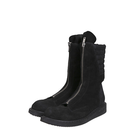 RICK OWENS SUEDE FRONT ZIP EXTENDED TONGUE HIGH TOP BOOTS