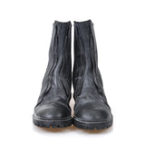 JULIUS_7 JULIUS 11AW BLACK LEATHER WHITE WASHED BACK ZIP BOOTS WITH VIBRAM SOLES