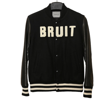 "UNDERCOVER AW13 BLACK ""BRUIT"" WOOL BOMBER JACKET WITH LEATHER SLEEVES AND SKULL PRINT BACK"