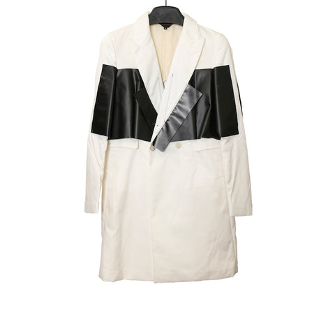 COMME DES GARCONS HOMME PLUS WHITE AND BLACK DOUBLE-BREASTED POLYESTER LONG BLAZER
