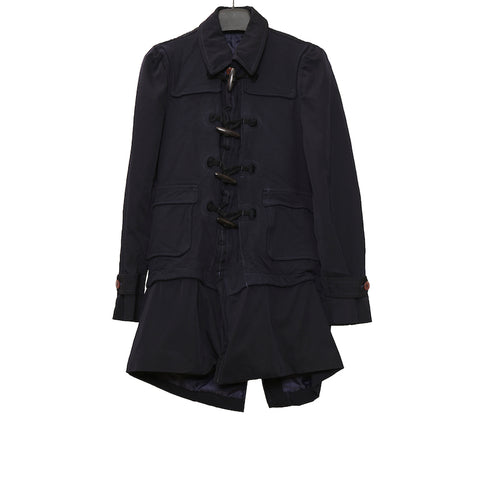COMME DES GARCONS HOMME PLUS AW09 BLACK LAYERED TOGGLE WOOL COAT