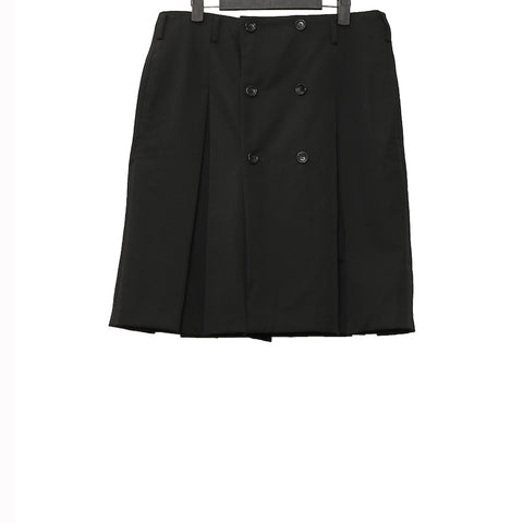 COMME DES GARCONS HOMME PLUS BLACK PLEATED WOOL SKIRT