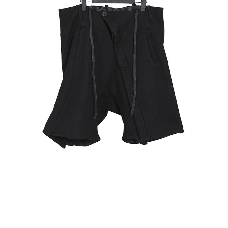 BORIS BIDJAN SABERI DIAGONAL BUTTON STAND OBJECT DYED LOW RISE CROTCH SHORTS