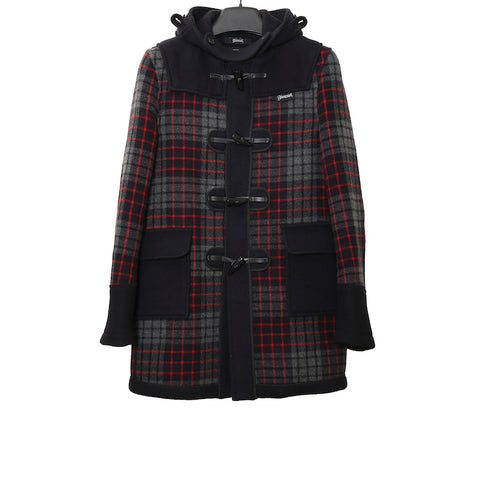 JUNYA WATANABE COMME DES GARCONS MAN x GLOVERALL AW08 BLACK AND CHECK HOODED TOGGLE DUFFLE WOOL COAT