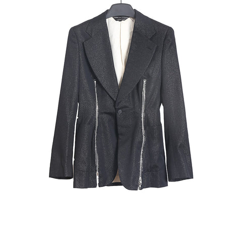 COMME DES GARCONS AW14 SHINY WOOL FRONT ZIPPERS DETAIL WIDE LAPEL BLAZER