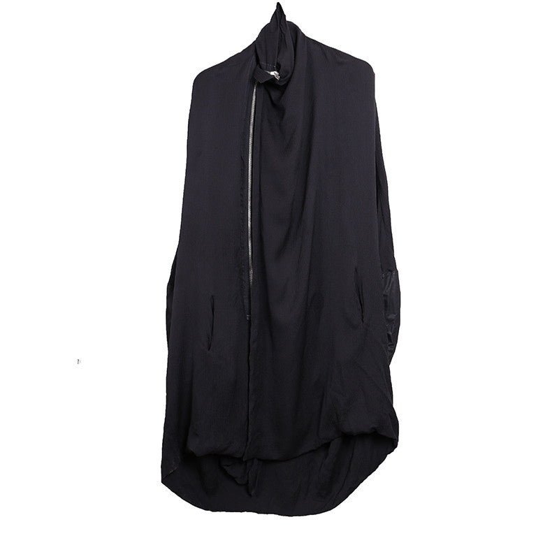 RICK OWENS SILK BLEND HIGH NECK BATWING DRESS WITH LEATHER SLEEVES