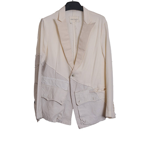 GREG LAUREN AW15 SNOW PATROL WHITE WOOL/COTTON PATCH DINNER JACKET