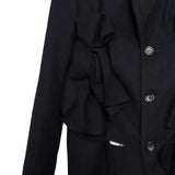 COMME DES GARCONS 13AW FLANNEL WOOL FLOWER TIE LONG JACKET