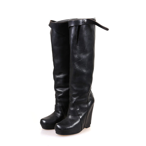 RICK OWENS CALF LEATHER KNEE-HIGH WEDGE BOOTS
