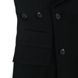 YOHJI YAMAMOTO WOOL DOUBLE BREAST COAT WITH INNER EXTRA CLOSURE STRAP