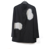 YOHJI YAMAMOTO 15SS STRIPED PATCHWORK BUTTON DOWN STAND COLLAR JACKET