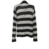 NUMBER (N)INE WHITE/BLACK RIPPED STRIP SWEATER