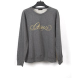 UNDERCOVER FRONT EMBROIDERED GOLDEN LOGO ROUND NECK SWEATER
