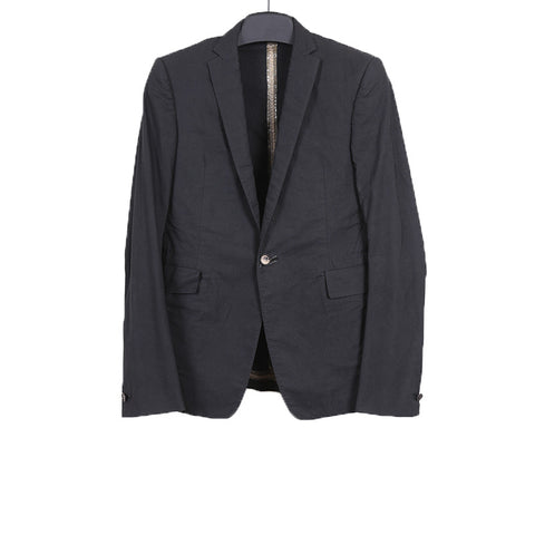 CAROL CHRISTIAN POELL 10SS COTTON OBJECTED DYED STRUCTURED SIGNLE BUTTON BLAZER WITH TITANIUM ELBOWS