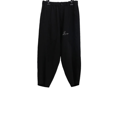 YOHJI YAMANOTO SS15 BLACK CROPPED TROUSERS WITH LOGO