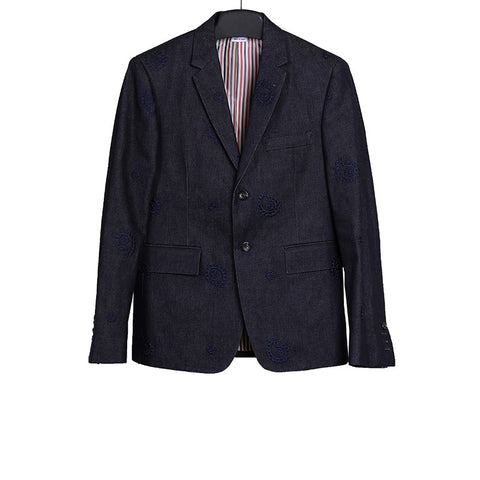 THOM BROWNE EMBROIDERED TWO BUTTON CLOSURE DENIM BLAZER
