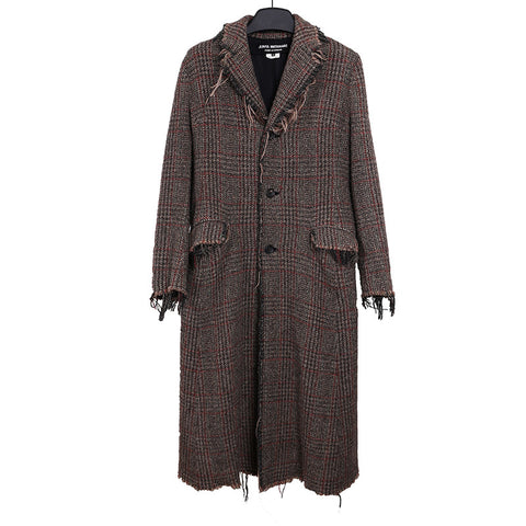 JUNYA WATANABE COMME DES GARCONS WOMEN PLAID RAW EDGE WOOL COAT