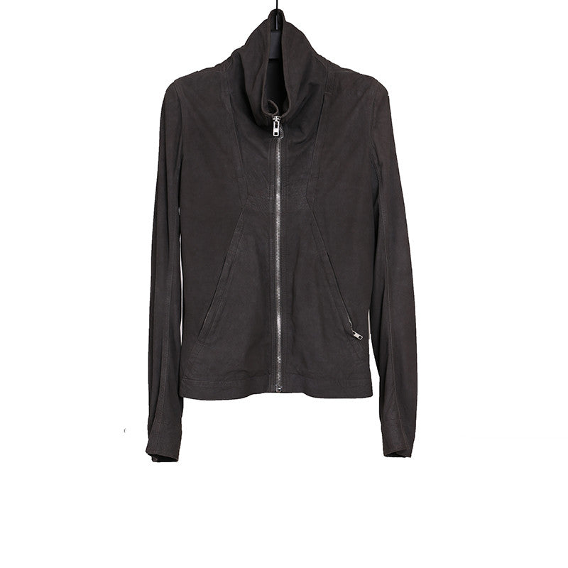 RICK OWENS BLISTERWD LAMB LEATHER INSTARSIA HIGH NECK LEATHER JACKET