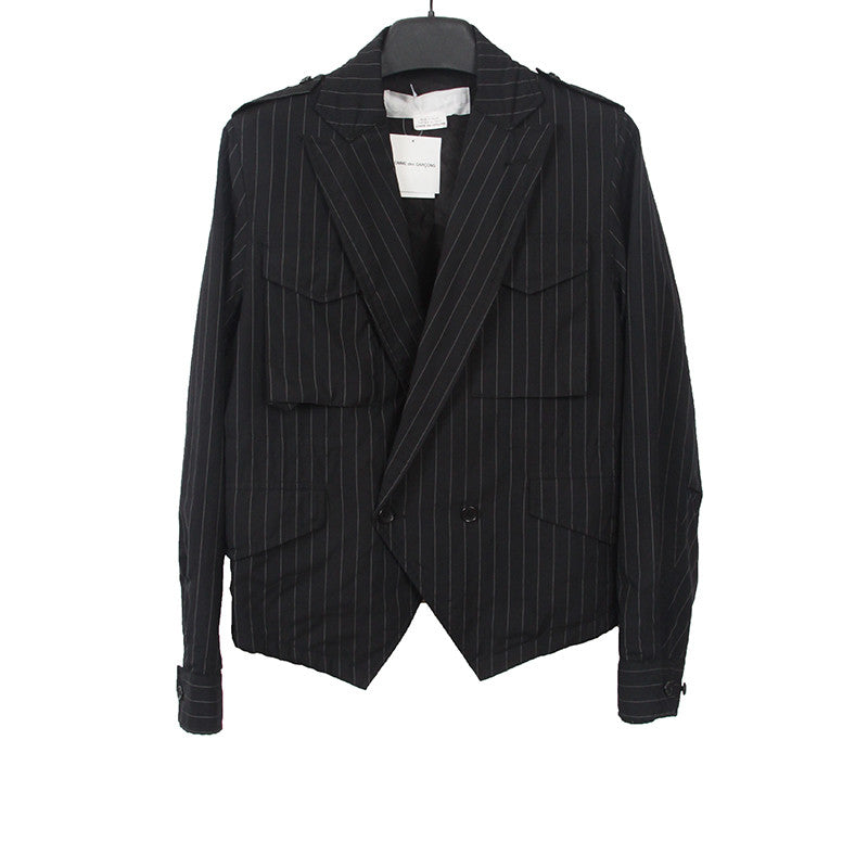 GANRYU COMME DES GARCONS WOOL BLEND STRIPPED DOUBLE BREAST BLAZER