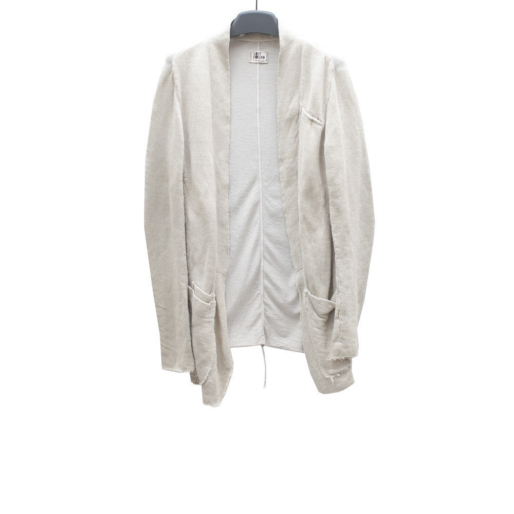 LOST & FOUND COTTON CARDIGAN W/ JERSEY BACK PANEL