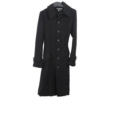 JUNYA WATANABE COMME DES GARCONS WOOL A SHAPE BUTTON DOWN LONG COAT WITH CARDIGAN LAYER INNER