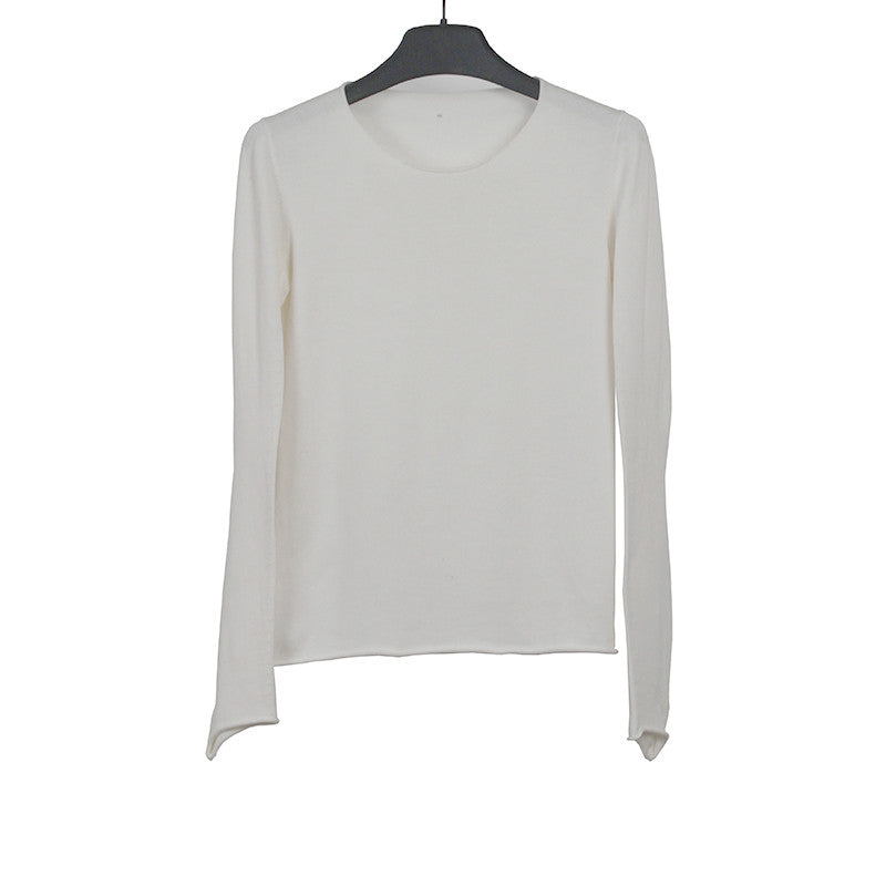 LABEL UNDER CONSTRUCTION RAW EDGES LONG SLEEVE KNIT TOP