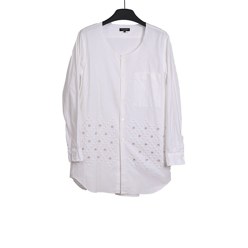 COMME DES GARCONS HOMME PLUS 13AW COLLARLESS ELONGATE BUTTON DOWN SHIRT WITH BULB DETAILS