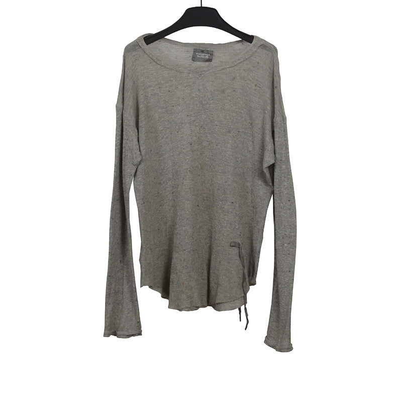 TAKAHIROMIYASHITA THE SOLOIST S.0037 RIBBED ASYMMETRIC EDGE ROUND NECK LONG SLEEVE TEE