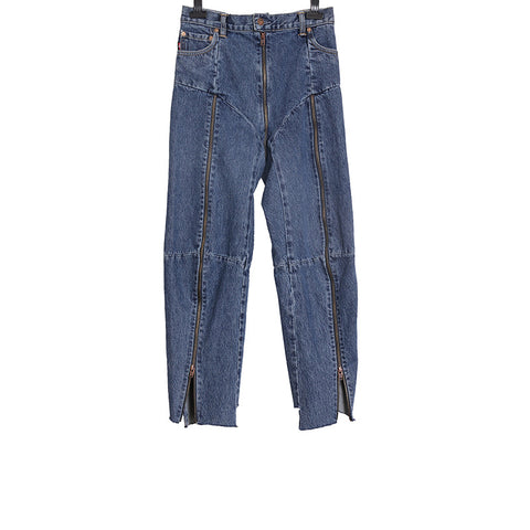 VETEMENTS SS17 x LEVI'S REWORKE ZIP- DETAILED HIGH-RISE STRAIGHT-LEG DENIM