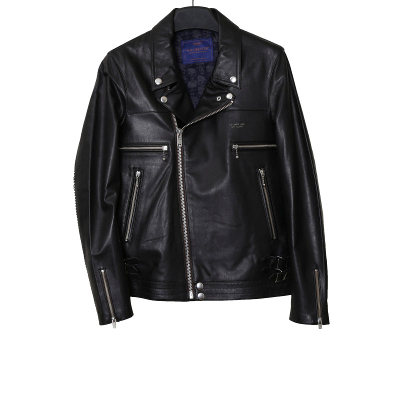 "UNDERCOVER 16SS ""THE GREATEST"" BIKER LAMB LEATHER JACKET WITH GIZ TATTOO PRINT SLEEVES"