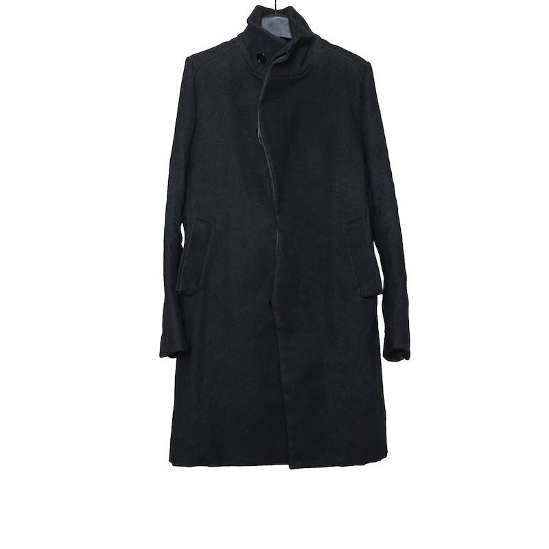DEEPTI AW16 BLACK BEE WAXED WOOL CRASH BUTTON FRONT LONG COAT
