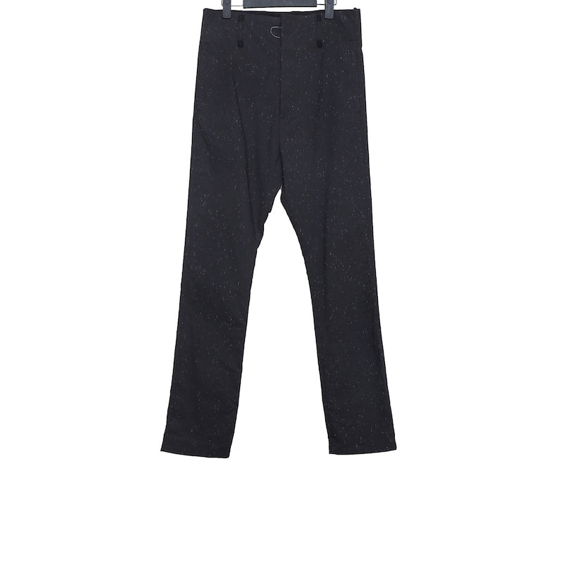 DEEPTI BLACK COTTON VULCANISED OPEN FLY LOW CROTCH TROUSERS W/ RAIN PATTERN