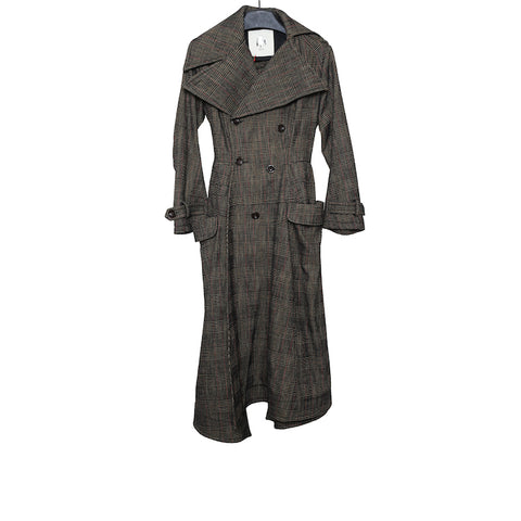 AGANOVICH AW17 BROWN CHECKED PRINCE GEGALLES COTTON LONG COAT