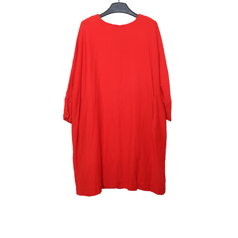 CASEY CASEY AW16 RED WASHED WOOL LONG SLEEVE DRESS