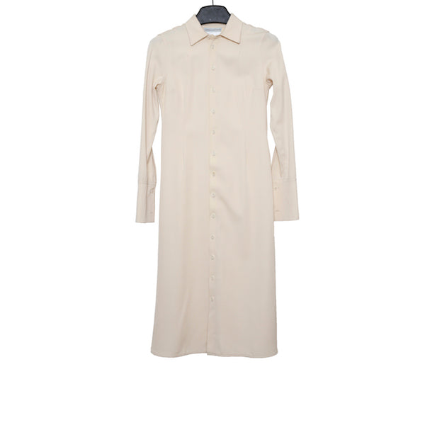 CHEREVICHKIOTVICHKI AW16 BEIGE STRETCH WOOL ADJUSTABLE LONG SHIRT DRESS