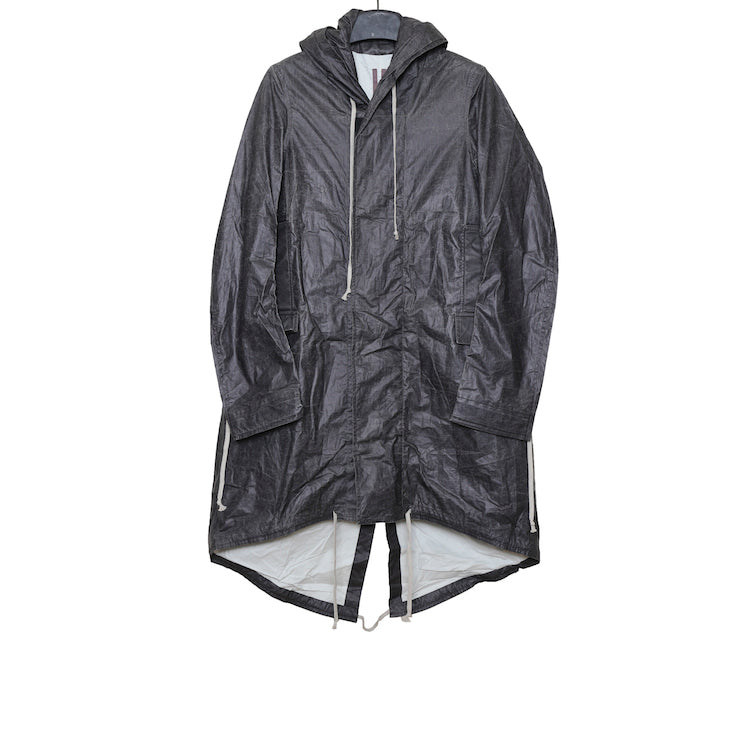 RICK OWENS DRKSHDW SS17 BLACK LONG FISHTAIL HOODED WOVEN PARKA