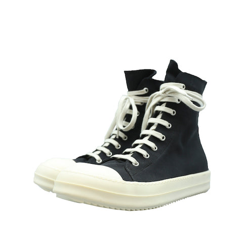 RICK OWENS DRKSHDW AW15 BLACK CANVAS HIGH TOP VEGAN SNEAKER