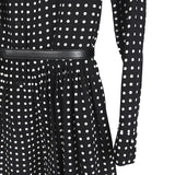 SAINT LAURENT PARIS SLP BLACK / WHITE POLKA DOT DRESS W/ BELT