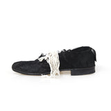 ELENA DAWSON LEATHER LACE-UP SHOES W/ LACE APPLIQUE